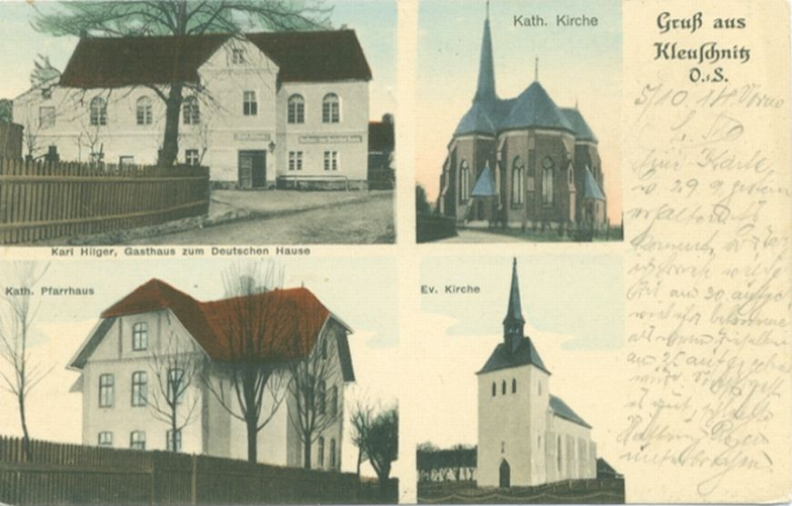 Klucznik 1900-20, zajazd Niemiecki Dom, plebania katolicka i kościoły