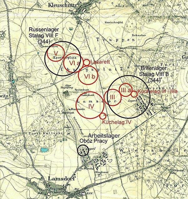 Kolorem czerwonym zaznaczono obozy z czasów I W Św. Czarnym II Wojna Św