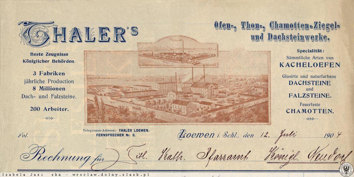 Nagłówek rachunku firmowego z-dów Thalera